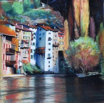 Pont en Royans, pastel sec